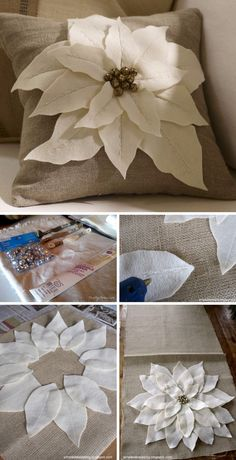 DIY Pottery Barn Inspired Felt Flowers Pillow