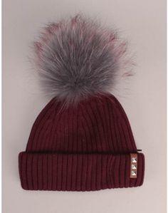 3be98bd17b65 Bklyn Hats Maroon Hat with Grey Cherry Pom Pom Womens Knitwear