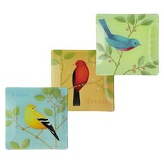"""Glass Bird Plates, Set of 6 $54.50  Great for serving, trinkets, and more! Our Petals Bird Plates feature three styles of popular birds on food-safe glass dishes. This six-piece assortment includes two of each style. Arrives gift boxed.   Glass   6"""" x 6""""   3 styles, equally assorted   Gift box   6 pieces"""