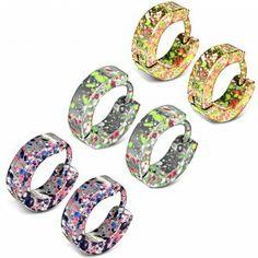 595e9d160 Men's Stainless Steel Multi Colour Splatter Design Huggie Hoop Earrings  men's jewellery #mensfashion #mensjewellery