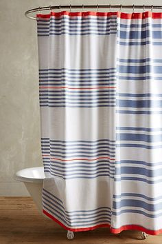 Particularly love this for a summer home by the sea. Maleda Shower Curtain - anthropologie.com