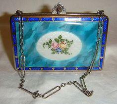 Vintage Guilloche Enamel Compact Purse   eBay