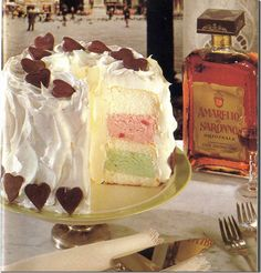 Italian love cake, made with amaretto!  Who doesn't love a boozy cake? This one has a whipped cream amaretto frosting.  Yummm