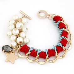 Luxurious Red Metal Chain Weaving Pearl Design Alloy Korean Fashion Bracelet www.asujewelry.com