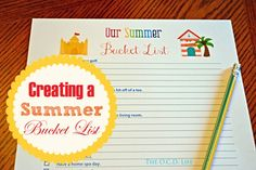 Set your familly up for an organized summer by creating a Summer Bucket List.  Use this free printable to make it easy.