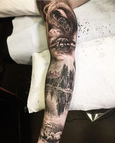 J&M Landscaping And Tree Service Product Forest Tattoo Sleeve, Nature Tattoo Sleeve, Wolf Tattoo Sleeve, Forest Tattoos, Best Sleeve Tattoos, Tattoo Sleeve Designs, Arm Tattoo, Natur Tattoo Arm, Natur Tattoos