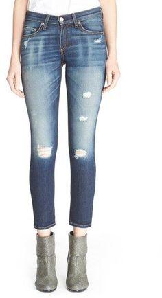 rag & bone/JEAN Capri Skinny Jeans (Dark Shredded)