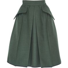 Dice Kayek High Waisted A-line Skirt (5,175 MYR) ❤ liked on Polyvore featuring skirts, green, dice kayek, a-line skirt, high waisted a line skirt, high-waisted skirts and green a line skirt