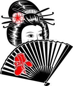 Portrait de jeune fille japonaise avec le ventilateur photo