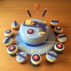 Nerf Gun Birthday Cake with Nerf Bullet & Target Cupcakes. Piped Delights by Julie Cakes Novelty Guildford Surrey