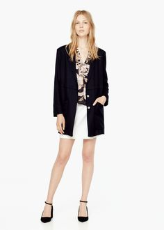 Lapel shift coat -  Women | MANGO