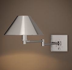 Candlestick Swing-Arm Sconce with Metal Shade. bedside lamp.  restoration hardware.