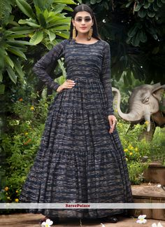 Navy Blue Printed Faux Georgette Designer Gown Costumes Anarkali, Anarkali Suits, Anarkali Gown, Designer Anarkali, Designer Gowns, Indian Lehenga, Lehenga Choli, Indian Dresses, Indian Outfits