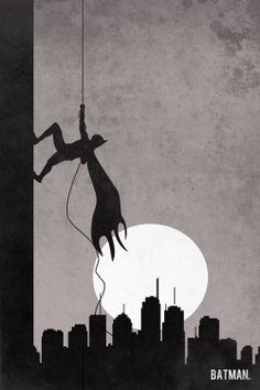 Batman retro poster minimalist art movie poster print art poster print 11x17 Batman Climb. $19.00, via Etsy.