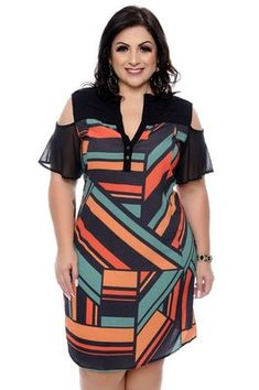 Vestido Chemise Plus Size Halyna at Diyanu Classy Womens Dresses, Summer Dresses For Women, Plus Size Dresses, Plus Size Outfits, Nice Dresses, Plus Size Batwing Tops, Ankara Long Gown Styles, Mode Glamour, Vestidos Plus Size