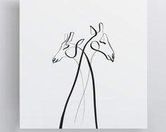 Giraffe Art Print, Wall Art, Minimal Giraffe, Giraffe Gift, Animal Gift, Minimal One Line Drawing, Single Line Artist