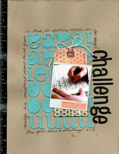 stencil with modeling paste on scrapbook page by Paula GIlarde