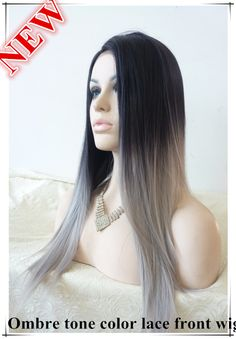 FREE SHIPPING 2014 new glueless straight ombre tone color black and grey heat resistant hair Synthetic Lace Front wig/maria wig