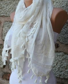 Creamy white scarf  headband necklace cowl by fatwoman on etsy, $19.90