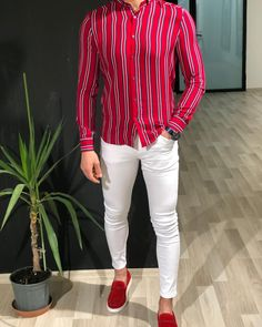 Anmos Men's Red Slim Fit Striped Shirt is made with Viscose. Mens Fashion Wear, Look Fashion, Formal Men Outfit, Casual Outfits, Stylish Men, Men Casual, Mens Printed Shirts, Moda Formal, Man Dressing Style