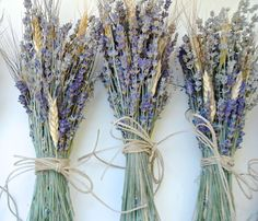Five Simple Lavender and Wheat Bouquets