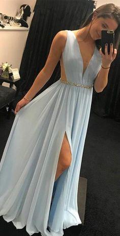elegant v neck prom dress,simple prom dress,light sky