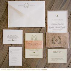 letterpress invitation with burlap pocket