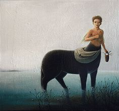 made by: Isabelle Tremblay , Acrylic on wood panel - (Faun in water)