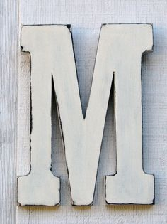 """Guest Book Rustic Wooden Letter M Distressed Vintage White,12"""" tall Wood Name Letters Nursery Decor, Kids Room You Pick Color on Etsy, $33.00"""