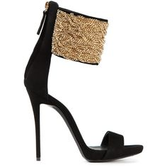 Giuseppe Zanotti Design Chain Strap Stiletto Sandals ($709) ❤ liked on Polyvore featuring shoes, sandals, heels, black ankle strap sandals, black sandals, high heel stilettos, ankle strap heel sandals and heels stilettos