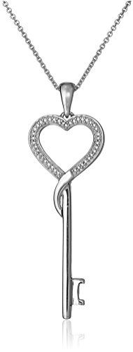 """Sterling Silver and Diamond Heart Key Necklace (1/10 cttw), 18"""" Amazon Collection http://www.amazon.com/dp/B004HW864O/ref=cm_sw_r_pi_dp_Qr8xwb154HHD2"""