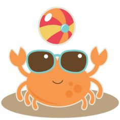 Crab With Beach Ball SVG cut file for scrapbooking crab svg cut file beach svg cut files free svgs