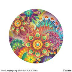 Floral paper party plate