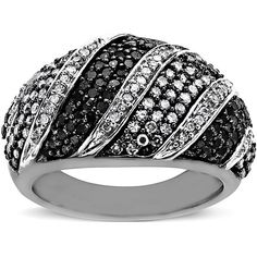 Lord & Taylor Black And White Diamond Ring In 14 Kt. White Gold And Rhodium, 1.0 Ct. T.W.