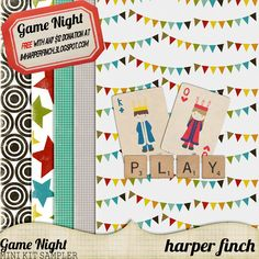 """Game Night Sampler by Harper Finch by harperfinch ✿ Join 7,500 others. Follow the Free Digital Scrapbook board for daily freebies. Visit GrannyEnchanted.Com for thousands of digital scrapbook freebies. ✿ """"Free Digital Scrapbook Board"""" URL: https://www.pinterest.com/sherylcsjohnson/free-digital-scrapbook/