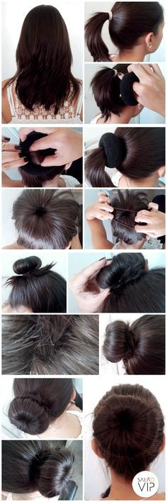 Fizemos um tutorial de coque rosca, conhecido também como Donut Hair! Um penteado que deixa você super bonita, e o melhor de tudo, é muito simples de fazer! Office Hairstyles, Bun Hairstyles, Pretty Hairstyles, Hair Donut, Natural Hair Styles, Long Hair Styles, Glam Hair, Hair Tattoos, Hair Styles 2016