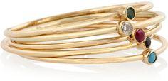 Jennifer Meyer Set of five 18-karat gold multi-stone stackable rings on shopstyle.com