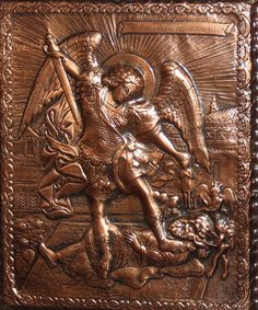 Hand made Religious copper relief plaque icon Archangel Michael killing Lucifer