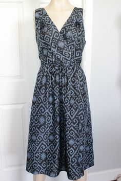 MICHAEL Michael Kors Blue Print Silk Sleeveless Faux Wrap Sundress Dress Size 12 #MICHEALMichaelKors #FauxWrapDress