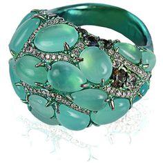 Arunashi Blue-Opal, Diamond and Sapphire Ring