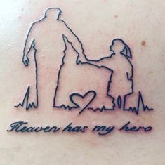 Heaven has my hero - Tattoo in memory of my grandpa❤love it. You are in the right place about Heaven has my hero Tatto - Rip Tattoos For Dad, Daddy Daughter Tattoos, In Loving Memory Tattoos, Tattoos For Dad Memorial, Father Tattoos, Tattoos For Daughters, Rip Grandpa Tattoo, Dad Tattoo In Memory Of, Memorial Tattoo Quotes