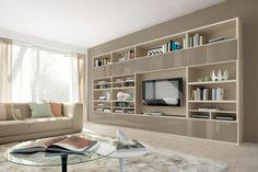 meuble-mural-salon-étagères-couleur-crème-armoires-taupe-laqué meuble mural salon