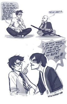 Harry Potter, Aang, and Zuko the Drama Queen - by viria - ATLA-Percy Jackson crossover Avatar Airbender, Avatar Aang, Avatar Funny, Team Avatar, Avatar The Last Airbender Funny, Avatar Cartoon, Harry Potter Crossover, Fandom Crossover, Fangirl