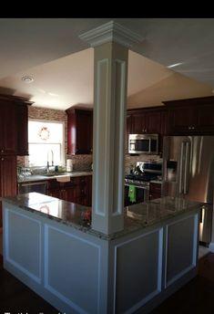 Open floor plan kitchen, knock down walls, l-shaped island, column