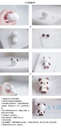 Mini panda needle felt tutorial