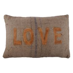 """Amour Pillow.  Jute throw pillow with stitched leather lettering.  16"""" x 24""""  ($75.00)  $28.00  Joss and Main"""