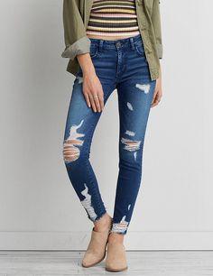 d86b7cfdf39 Denim Branding, Aeo, Minimal Fashion, Jeggings, American Eagle Outfitters