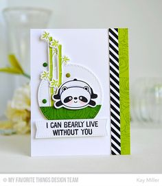 Happy Pandas stamp set and Die-namics, Roses All Over Background, Textile Backgrounds, Zig Zag Stitched Circle STAX Die-namics - Kay Miller #mftstamps