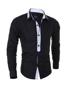 Men's Color Block Small Lapel Shirt