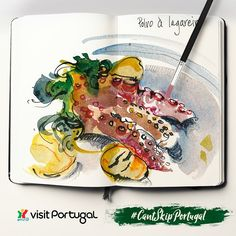 "In Portugal it's hard to skip good food. Every region has its own specific dishes, but there are a few ones that may be considered to be a ""national dish"". This is just one of them: octopus and roast potatoes. :) What do you enjoy eating the most when in Portugal? [Credits: @suhitasketch] #SketchTourPortugal #CantSkipPortugal"